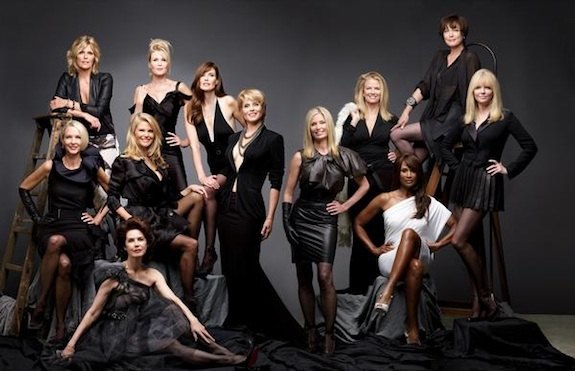 ABOUT FACE: SUPERMODELS THEN AND NOW: Hansen, Marshall, Tiegs, Johnson, Taylor, Emerg, Alt, Bjornson, Haddon, Brinkley, Donahue, Alexis. photo: Portrait (c) Timothy Greenfield-Sanders/courtesy of HBO