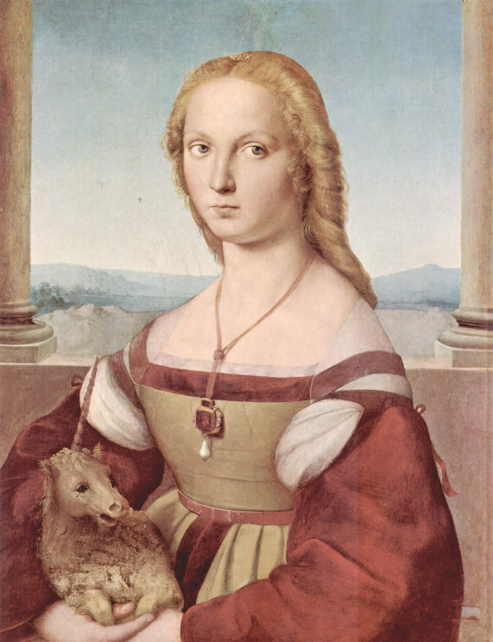 Porträt einer jungen Dame mit Einhorn. Oder Die Blondine. Von Raphael. http://bit.ly/1a3Cme9 . Foto: The Yorck Project. Lizenz: GNU Free Documentation License